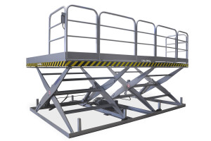 MSTAP 20-20/18: tandem scissor lift table. Painted steel. Maximum load: 2000 kg. Raised height: 2000 mm. Top platform with non-slip paint, safety handrails and access gate with safety mechanism (lift table will not work if gate is open).