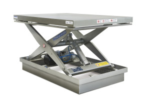 MSI-10-11/10: single-scissor lift table in 100% stainless steel. Maximum load: 1.000 Kg. Raised height: 1.100 mm. Top platform: 1.200 x 1.700 mm.