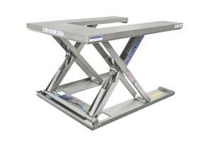 U-shaped MSEI-12-09/12: U-shaped low-profile table. 100% stainless steel. Maximum load: 1200 kg. Raised height: 900 mm. Closed height: 90 mm. Top platform: 1200 mm (W) x 1400 mm (L).