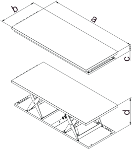 Tandem scissor table measurements
