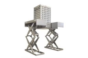 MSSTH-TI 20-23/06 Tandem scissor lift table. 100% stainless steel. Maximum load: 2.000 Kg. Double scissor lift table with ground floor loading possibility.