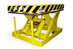 MSAP-20-11/09: single-scissor lift table in painted steel with mechanical stops.