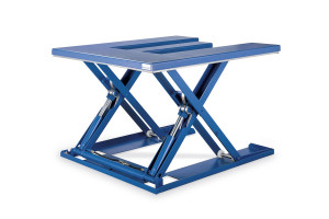 E-shaped MSEI-12-09/12: E-shaped low-profile table. 100% painted steel. Maximum load: 1200 kg. Raised height: 900 mm. Closed height: 90 mm. Top platform: 1200 mm (W) x 1400 mm (L).
