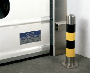Stainless steel bollard door protector.