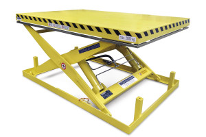 MSAP-20-15/15: single-scissor lift table in painted steel. Maximum load: 2000 kg. Raised height: 1500 mm. Adjustable mechanical stops.